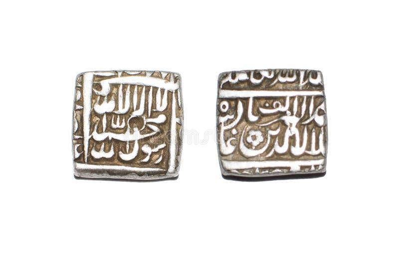 Серебряная монета Индия Akbar императора Mughal стоковое изображение rf