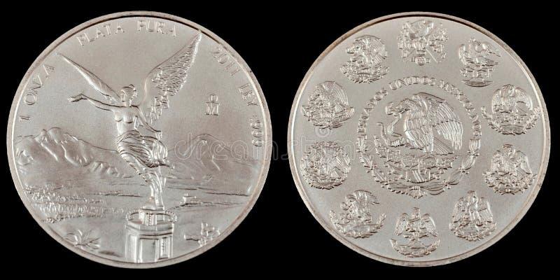 Серебряная монета облечения стоковые изображения