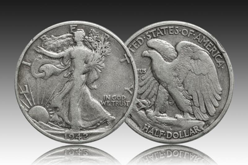 Серебряная монета 1942 полдоллара Соединенных Штатов стоковые изображения rf