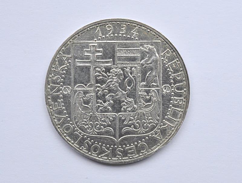 Серебряная монета, Чехословакия стоковая фотография rf