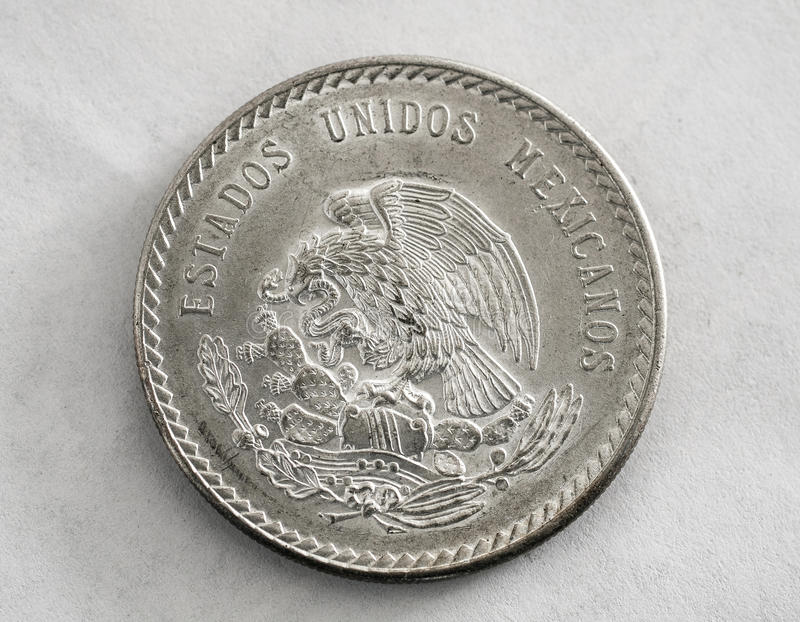Серебряная монета Cuauhtemoc мексиканца стоковая фотография