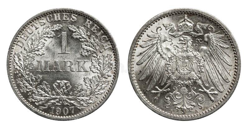 Серебряная монетка Германия 1907 метки стоковое изображение
