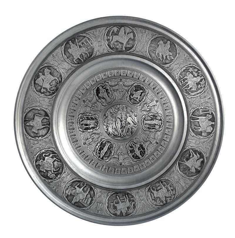 Серебряная плита стены Адам и Eve стоковое изображение rf