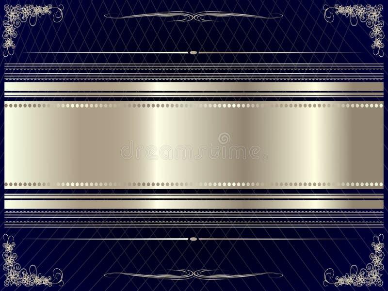 Серебряная рамка с флористическими элементами 9 иллюстрация вектора