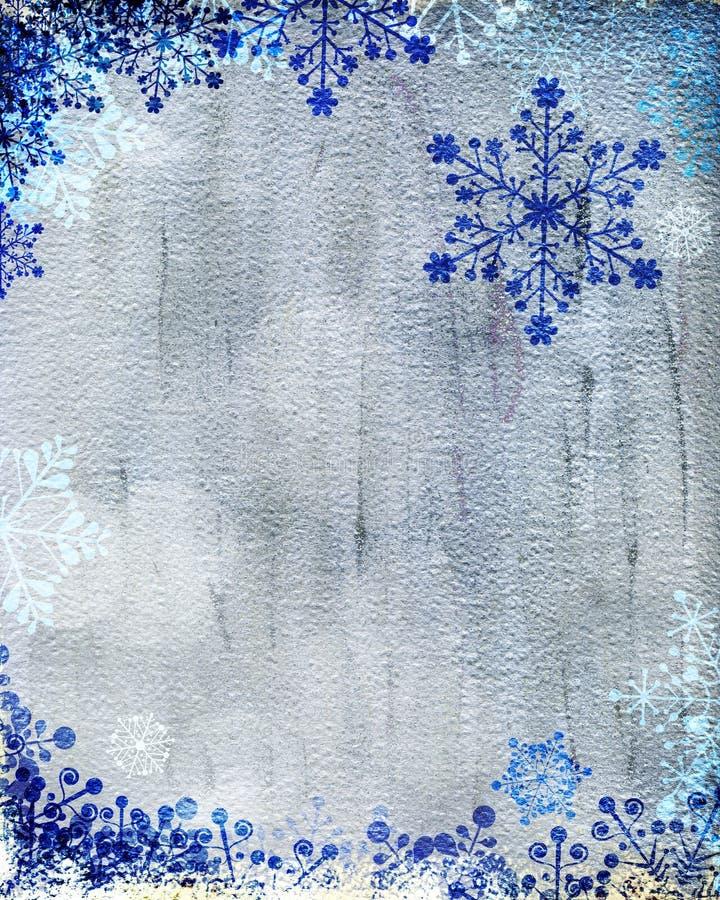 Серебряная рождественская открытка с голубыми снежинками стоковые изображения rf