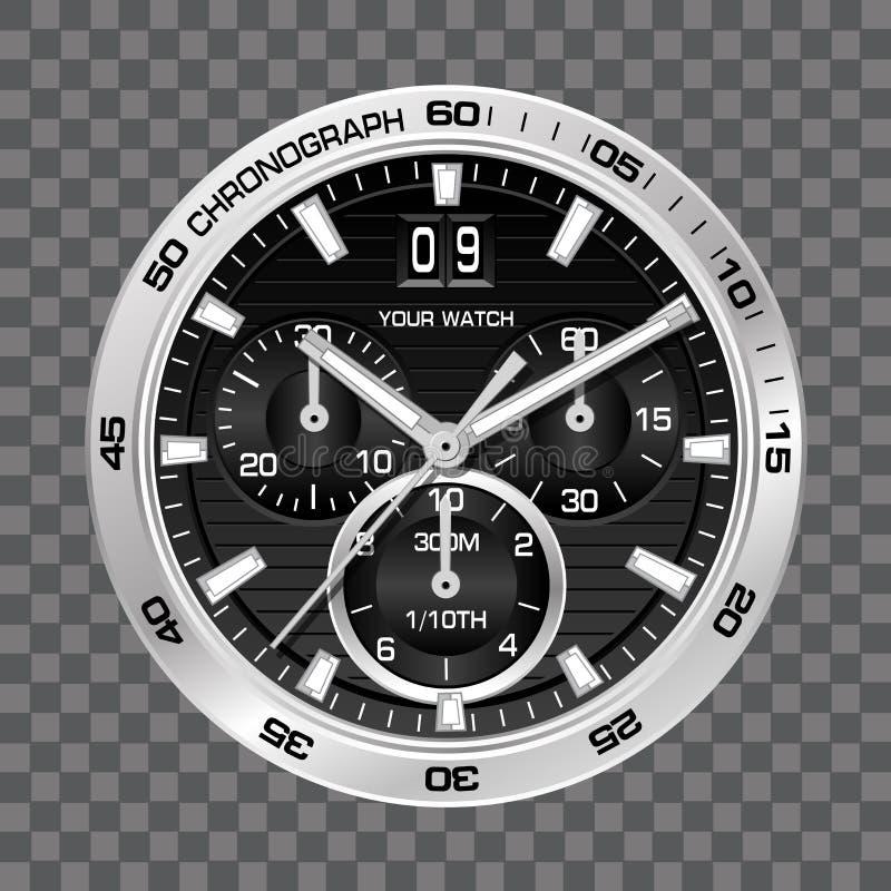 Серебряная роскошь стороны хронографа часов вахты на сером checkered векторе предпосылки бесплатная иллюстрация
