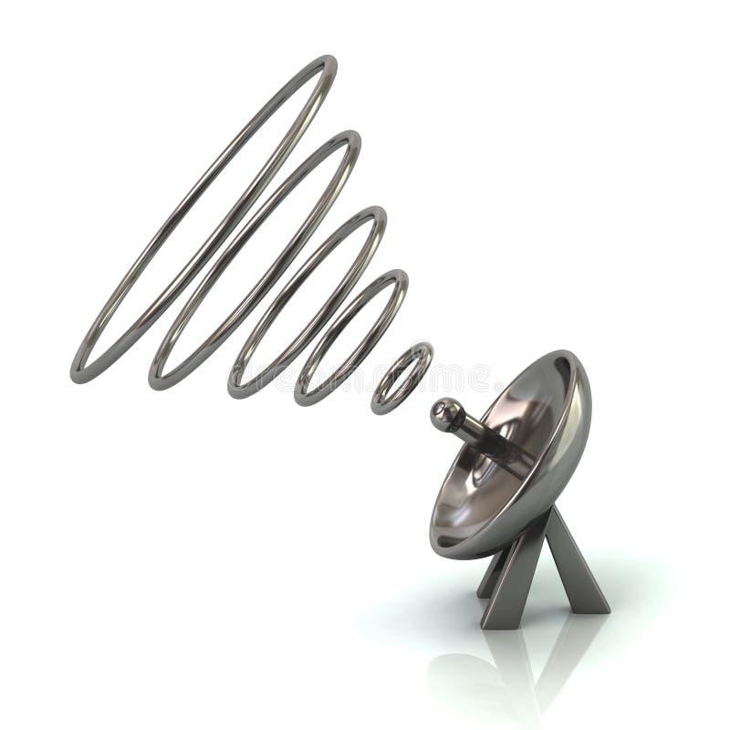 Серебряная спутниковая иллюстрация параболической антенны 3d иллюстрация вектора