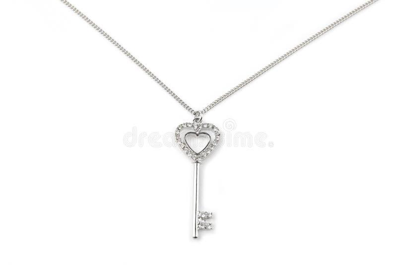 Серебряное ключевое привесное ожерелье стоковые изображения