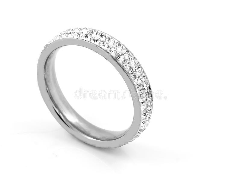 Серебряное кольцо дам стоковые изображения rf