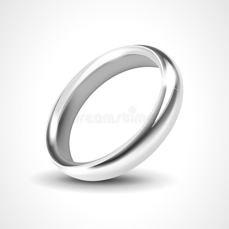 Серебряное кольцо изолированное на белой предпосылке иллюстрация штока