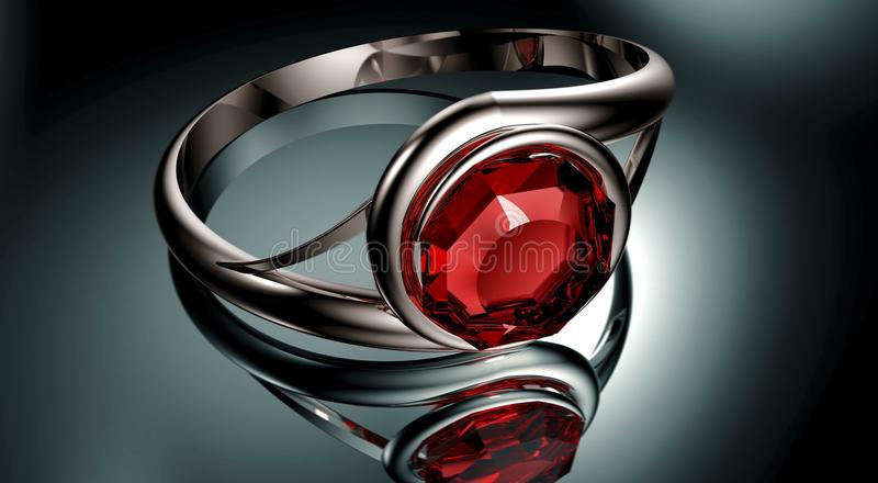 Серебряное кольцо с красным рубиновым камнем иллюстрация вектора