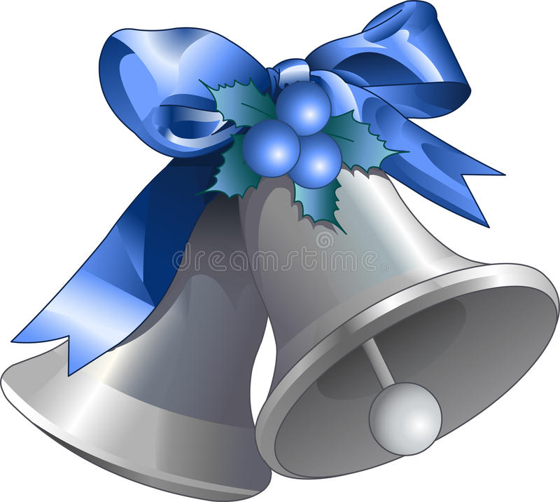 Серебряное рождество колоколы иллюстрация штока