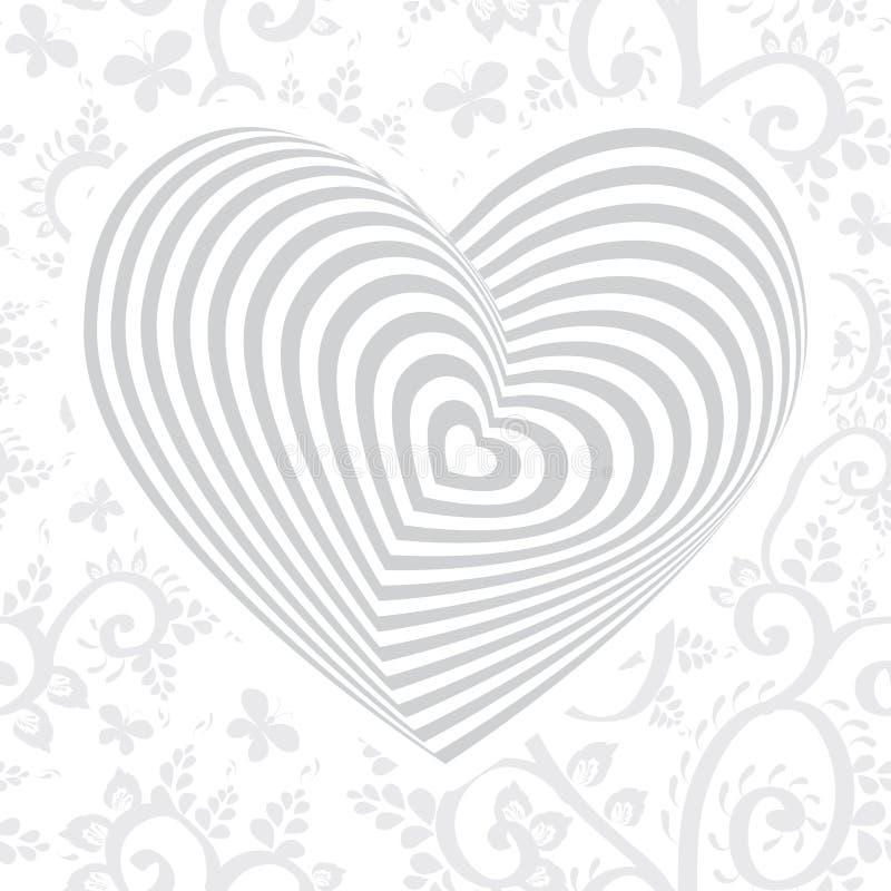 Серебряное сердце серой белизны на предпосылке флористического орнамента иллюзион оптически иллюстрация штока