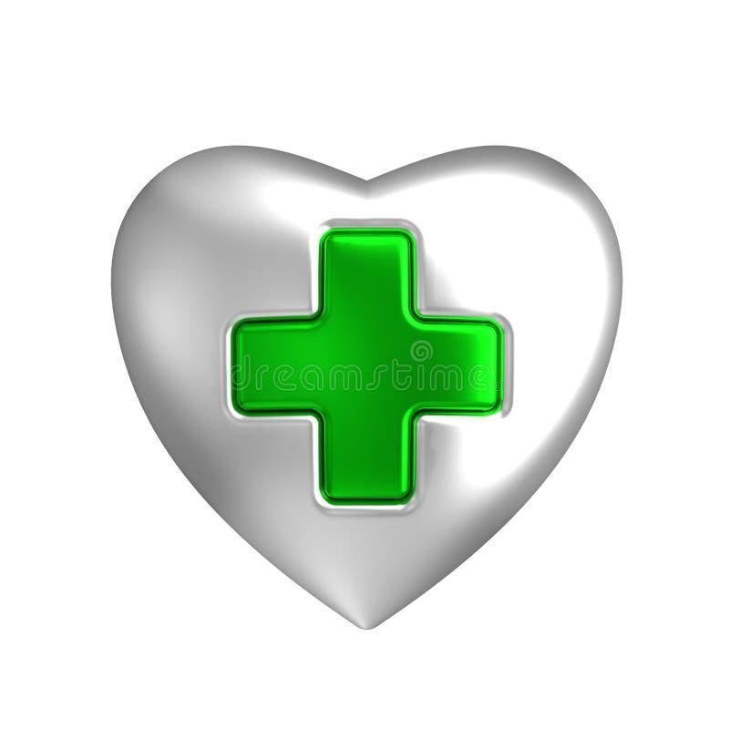 Серебряное сердце с медицинским зеленым перекрестным знаком иллюстрация штока