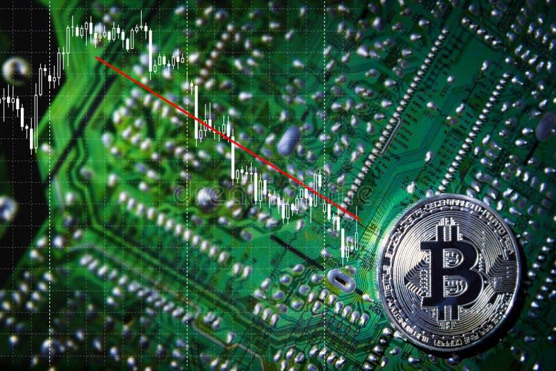 Серебряное Bitcoins на обломоке Тенденция вниз Зеленая предпосылка Крипта безопасности стоковое фото