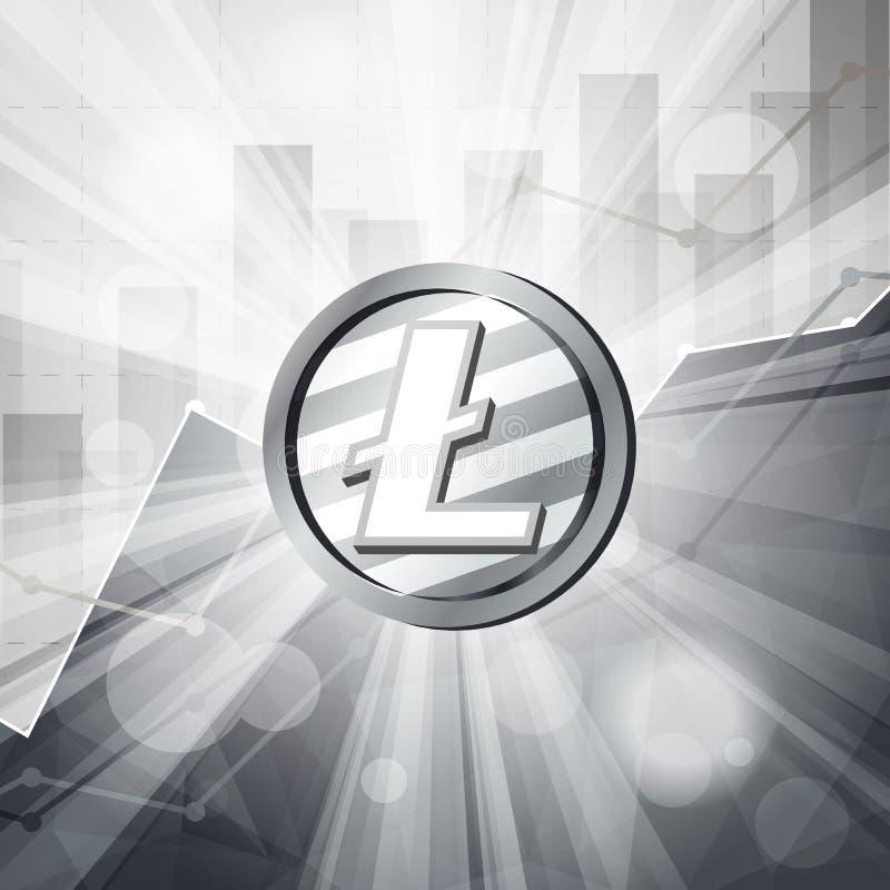 Серебряное cryptocurrency монетки litecoin в ярких лучах с stat иллюстрация штока