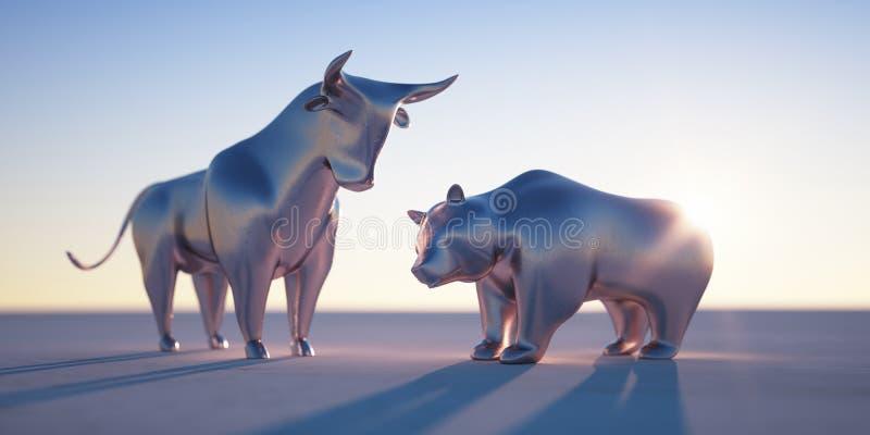 Серебряные бык и медведь - фондовая биржа концепции иллюстрация вектора