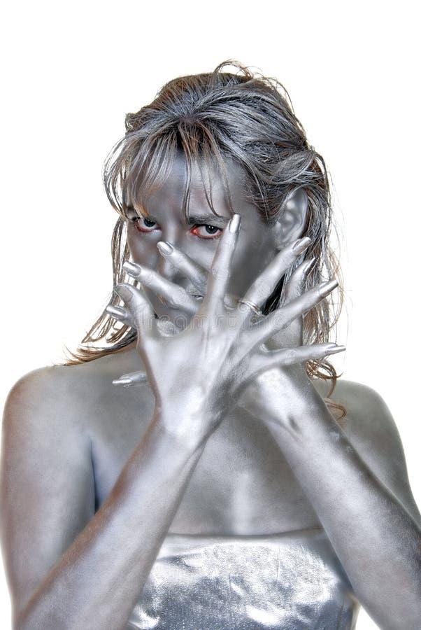 серебряные детеныши женщины стоковые фото