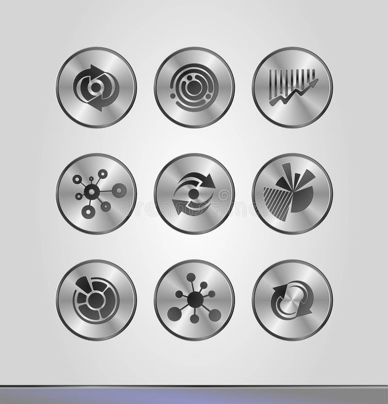 Серебряные значки дела иллюстрация штока