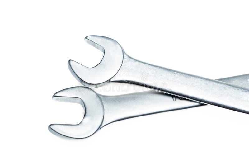 Серебряные инструменты для работы изолированной на белой предпосылке стоковые фотографии rf