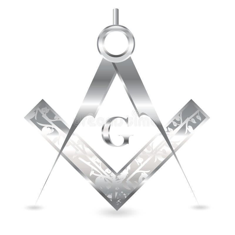 Серебряные квадрат и компас иллюстрация штока