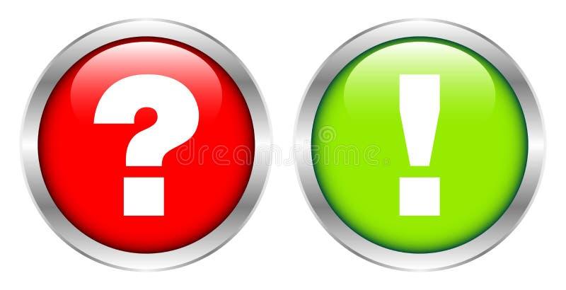Серебряные кнопки спрашивают для того чтобы ответить красному и зеленому иллюстрация вектора