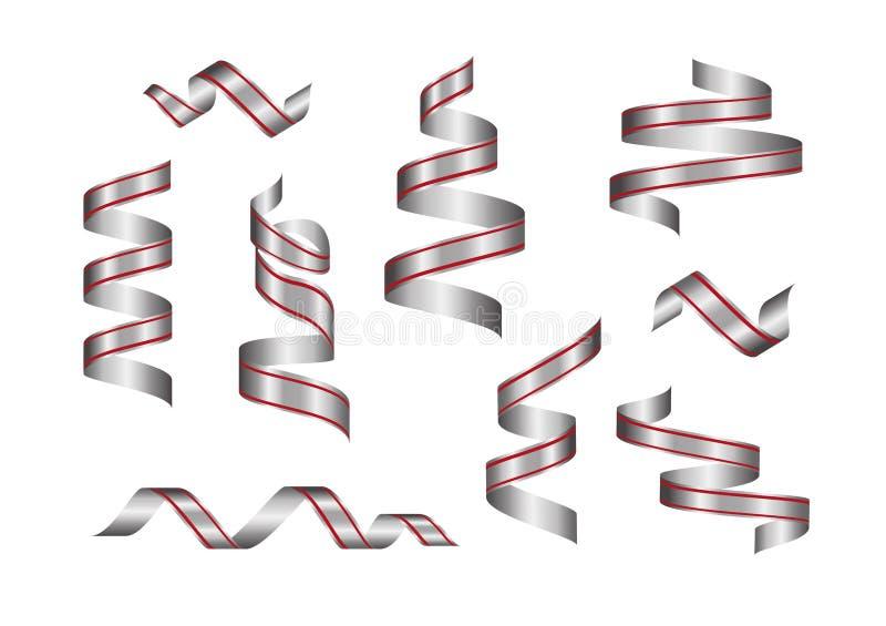 Серебряные ленты, металл confetti создавая программу-оболочку знамена для того чтобы установить, празднуют праздник партии исполь бесплатная иллюстрация