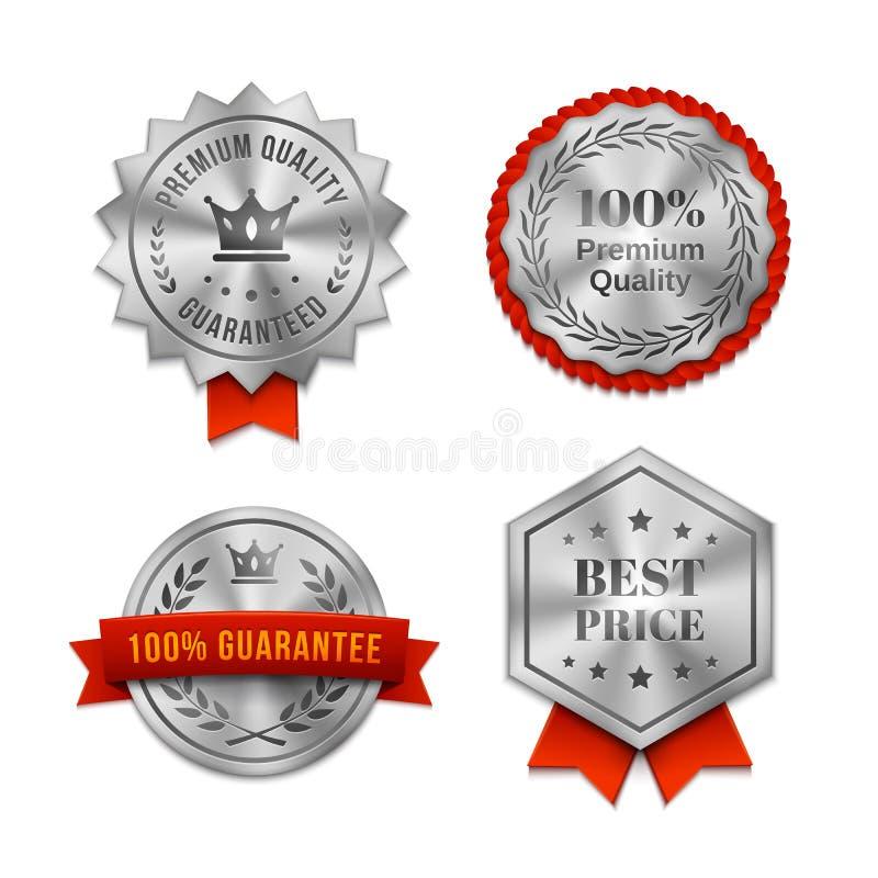 Серебряные металлические качественные значки или ярлыки иллюстрация вектора