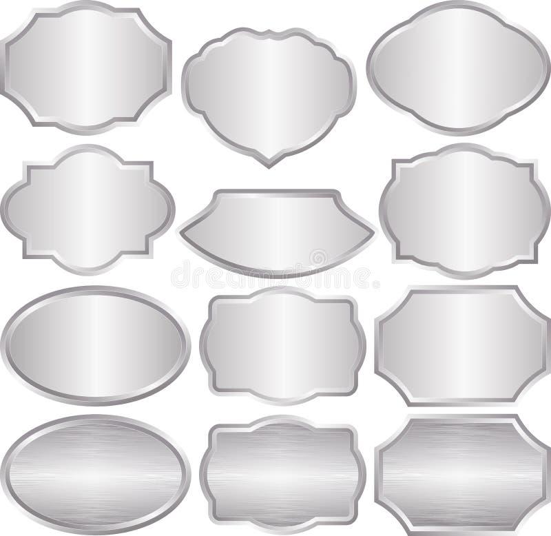 Серебряные металлические пластинкы иллюстрация штока