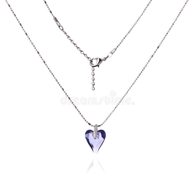 Серебряные ожерелье и шкентель в форме сердца стоковое фото rf