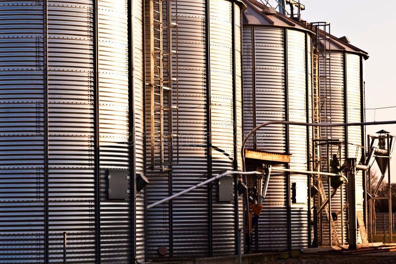 Серебряные силосохранилища стоковая фотография rf