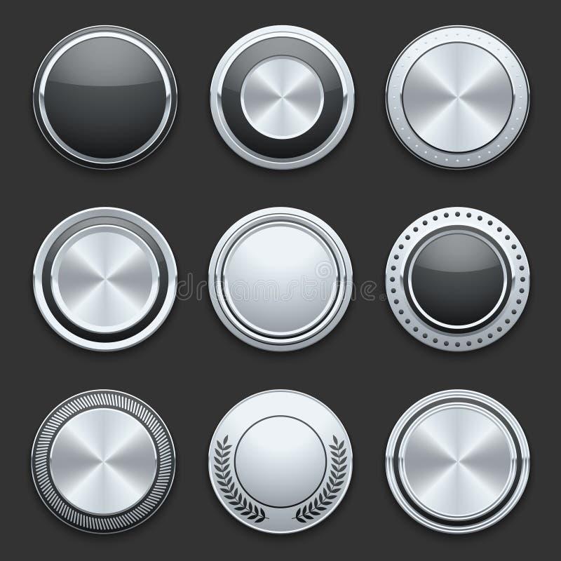 Серебряные установленные кнопки вектора хрома металла иллюстрация вектора