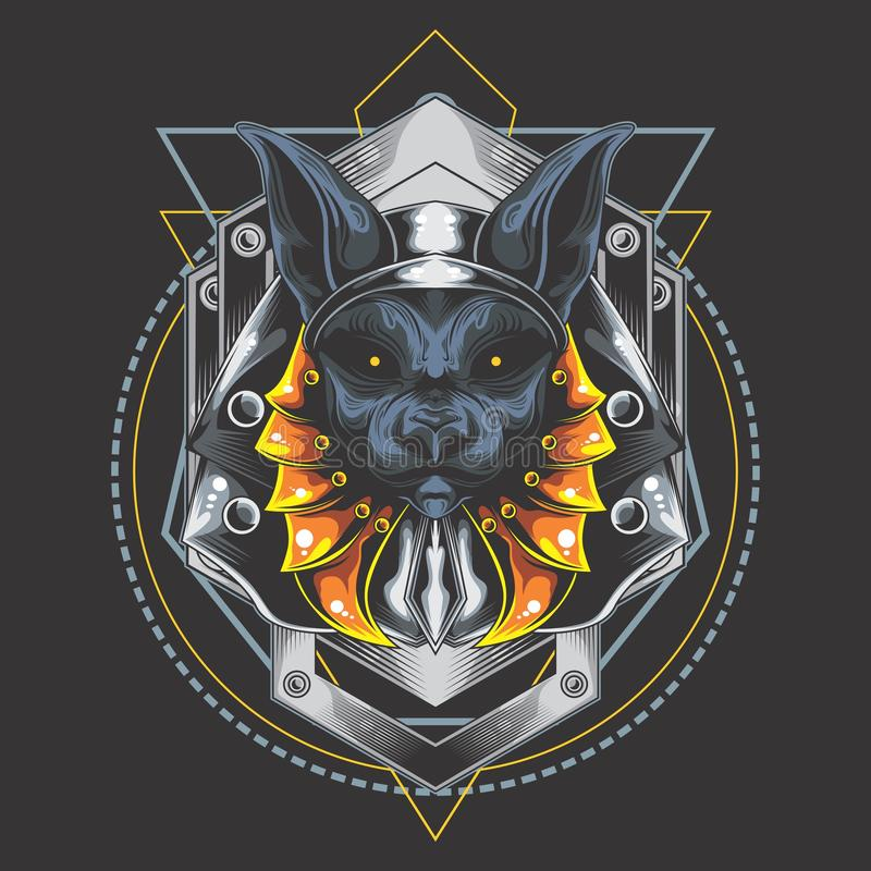 Серебряные anubis панцыря иллюстрация вектора