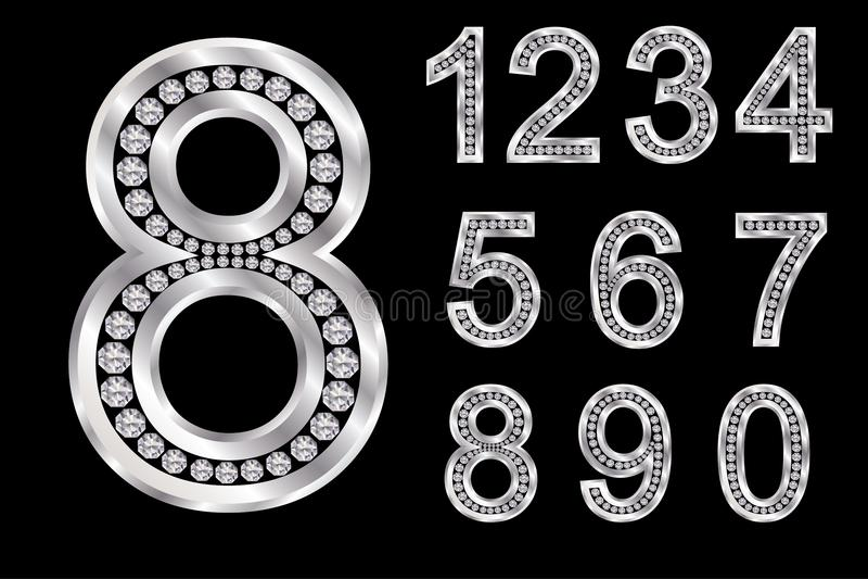 Серебряный алфавит с диамантами, письмами от a к z иллюстрация вектора