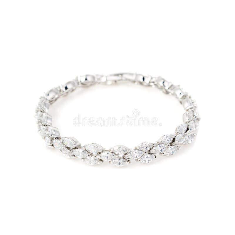 Серебряный браслет диаманта изолированный на белизне стоковые изображения