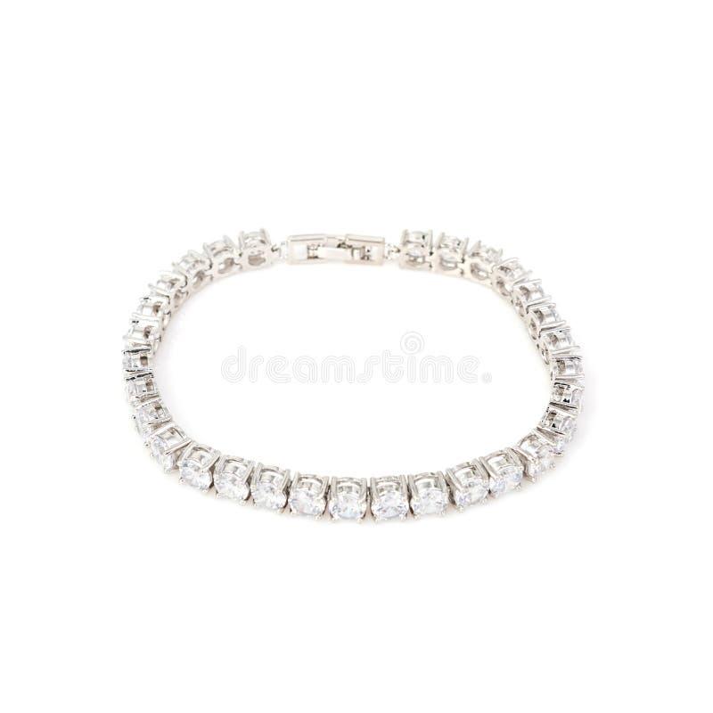 Серебряный браслет диаманта на белизне стоковое фото