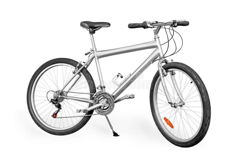 Серебряный горный велосипед стоковое изображение rf