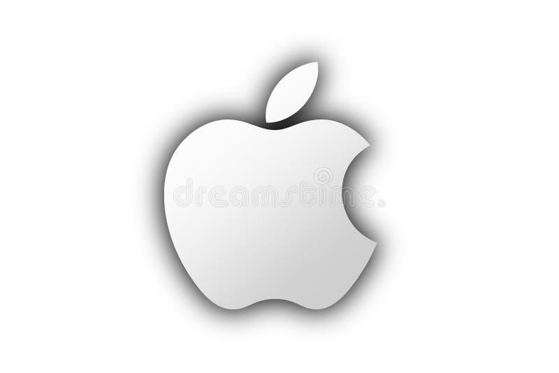 Серебряный значок логотипа бренда Яблока с тенью иллюстрация штока