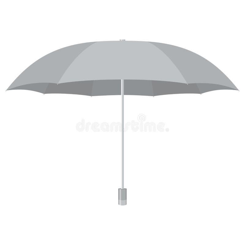Серебряный зонтик Изолировано на белизне также вектор иллюстрации притяжки corel иллюстрация вектора