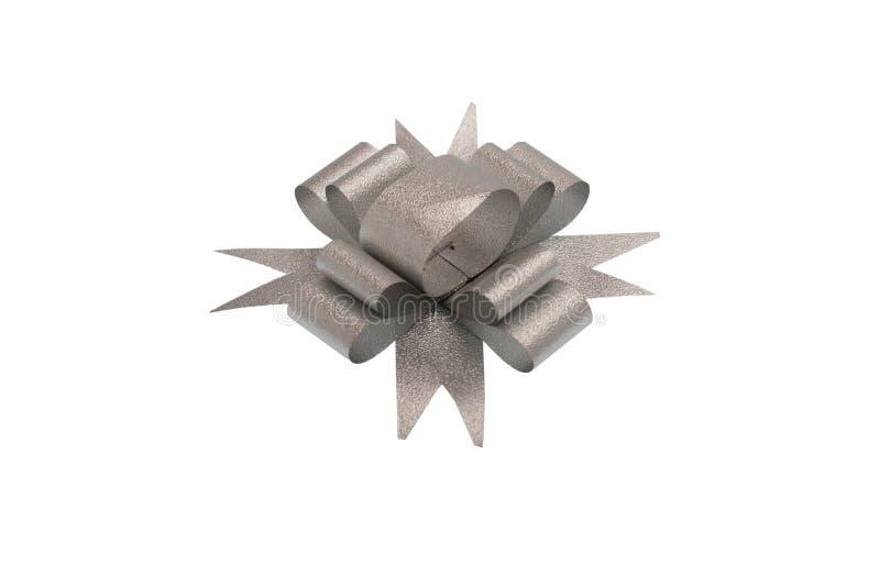 Серебряный изолированный смычок ленты стоковая фотография
