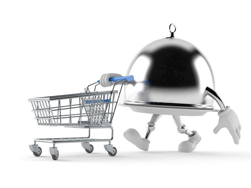 Серебряный купол ресторанного обслуживании с магазинной тележкаой иллюстрация вектора