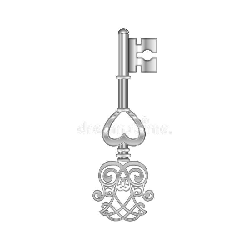 Серебряный ключ при изолированное сердце вектор бесплатная иллюстрация