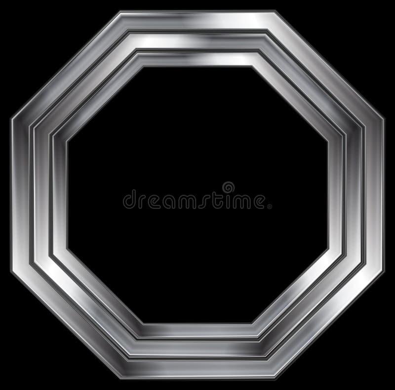 Серебряный металлический дизайн формы восьмиугольника иллюстрация вектора