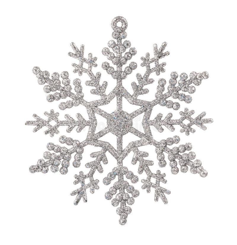 Серебряный орнамент рождества хлопь снега изолированный на белом backgroun стоковое фото rf