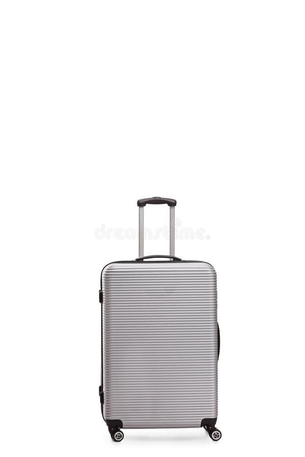 Серебряный серый чемодан стоковые изображения rf