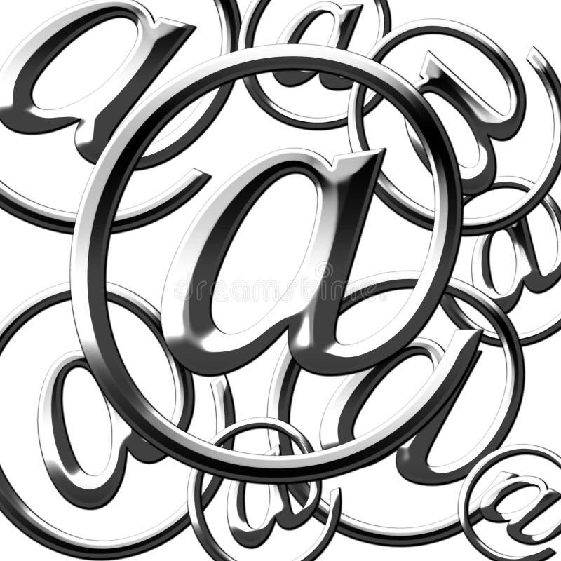Серебряный символ электронной почты иллюстрация штока