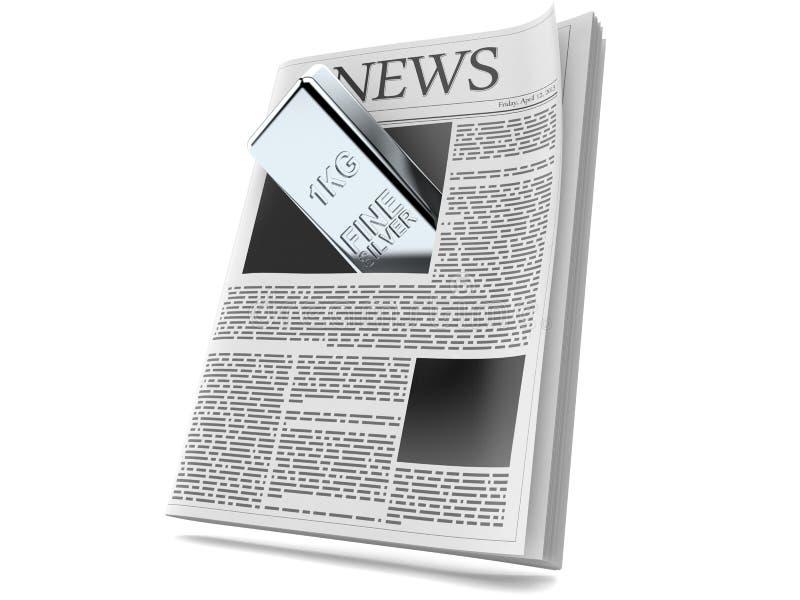 Серебряный слиток внутри газеты бесплатная иллюстрация
