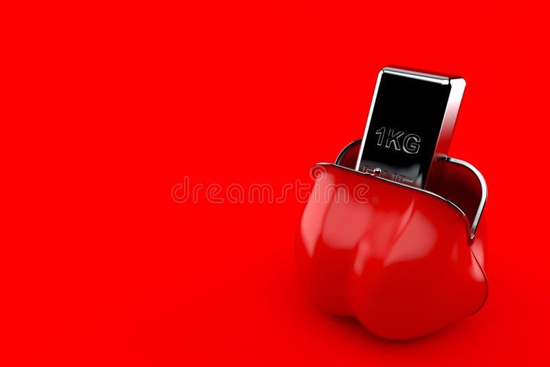 Серебряный слиток внутри красного портмона бесплатная иллюстрация