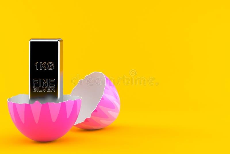 Серебряный слиток внутри пасхального яйца бесплатная иллюстрация
