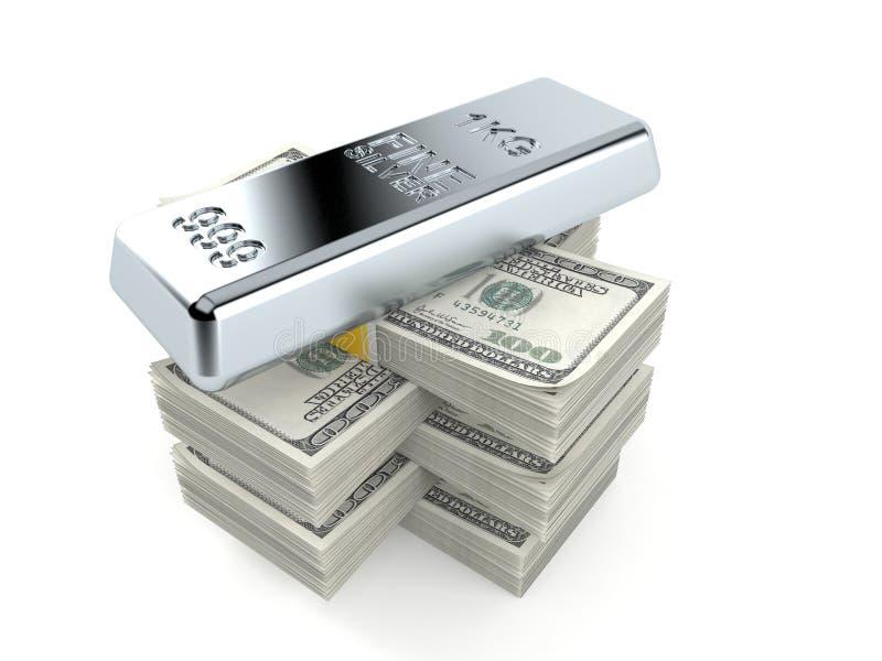 Серебряный слиток на стоге денег иллюстрация штока
